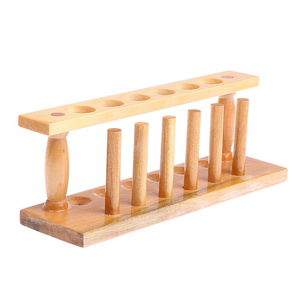 MagiDeal 6 Holes & 6 Pins Wooden Test Tube Rack Holder Burette Stand Laboratory Shelf