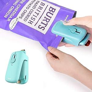 IVSUN Mini Bag Sealer,2 in 1 Heat Sealer with Cutter,Bag Heat Sealer Handheld Portable Vacuum Sealers for Chip Bags Plastic Bags Food Storage Snack Fresh Bag Sealer