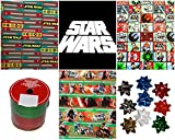 Star Wars Gift Wrapping Paper 3 Assorted Roll Set: 60 Sq. Ft. (3 X 20 Sq. Ft.) Bows Ribbon