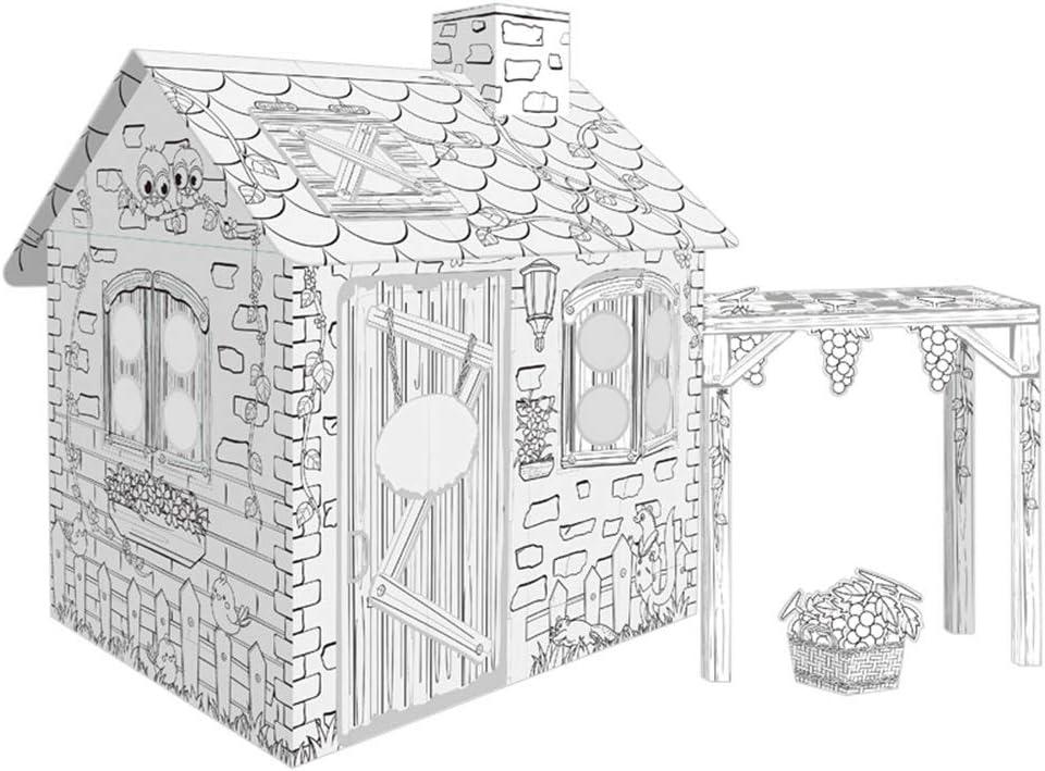 JLKJBH Cardboard Theatre Cardboard Game House, para Colorear Grafitis ArtesaníAs De CartóN: Amazon.es: Juguetes y juegos