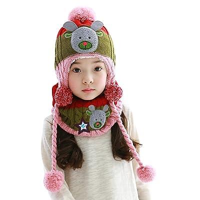 1de335a003cb Bigood Bonnet Echarpe Bébé Enfant Chapeau Animaux Imprimé Cache Oreilles ...
