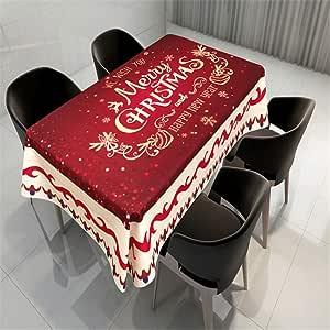 SONGHJ Mantel de Mesa de Comedor de Navidad de algodón poliéster Impresión Creativa Cubierta de Mesa Impermeable a Prueba de Polvo Rectangular Mantel casero E 140x240cm / 55x94in: Amazon.es: Hogar