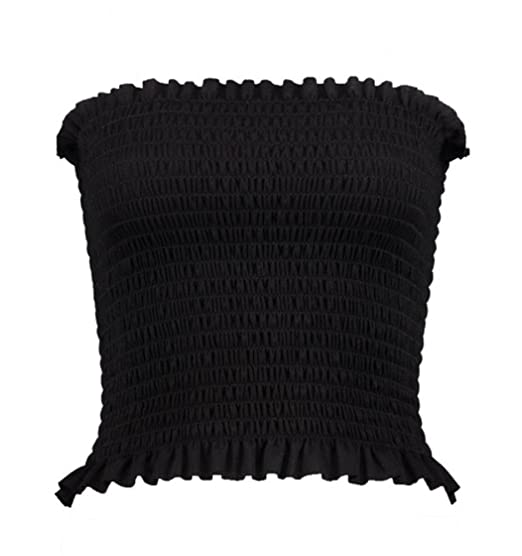 218aeccd51 New Ladies Girls Crepe Shirred Smocked Tube Sheering BoobTube Top   Amazon.ca  Clothing   Accessories