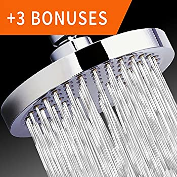 """Shower Head - Rainfall High Pressure 6"""" - Rain High Flow Fixed Luxury Chrome Showerhead - Removable Water Restrictor - Adjustable Metal Swivel Ball Joint - For the Best Relaxation and Spa"""