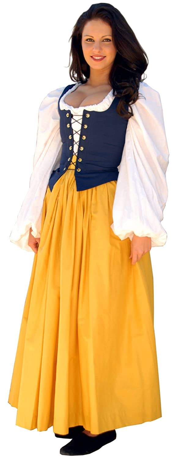 Renaissance Gathered Soft Cotton Curry Yellow Skirt by Sofi's Stitches - DeluxeAdultCostumes.com