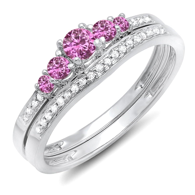 14K White Gold Round Pink Sapphire And White Diamond 5 Stone Bridal Engagement Ring Matching Band Set