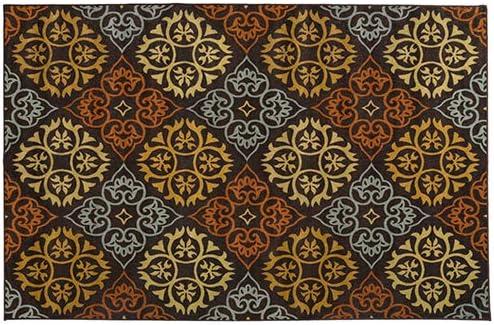 House, Home and More Skid-Resistant Carpet Indoor Area Rug Floor Mat Kaleidoscope Bloom Autumn Brown 6 Feet X 9 Feet