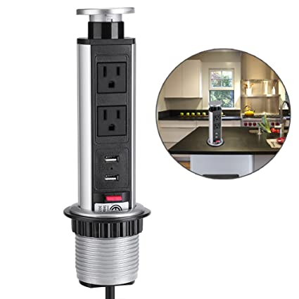 Retractable Vertical Or Horizontal Pop Up Power Socket 2 US Plug And 2 USB  Ports Safe