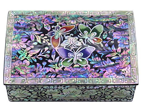 Antique Trinket Box - MADDesign Jewelry Trinket Box Mother of Pearl Inlay Lacquered Butterflies Black #38