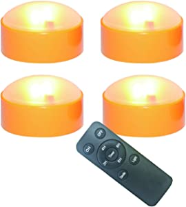 4 Pack Halloween LED Pumpkin Lights with Remote and Timers Battery Operated Jack-O-Lantern Lights Bright Flickering Flameless Electric Candles for Halloween Decor Holiday Decorations Orange Color