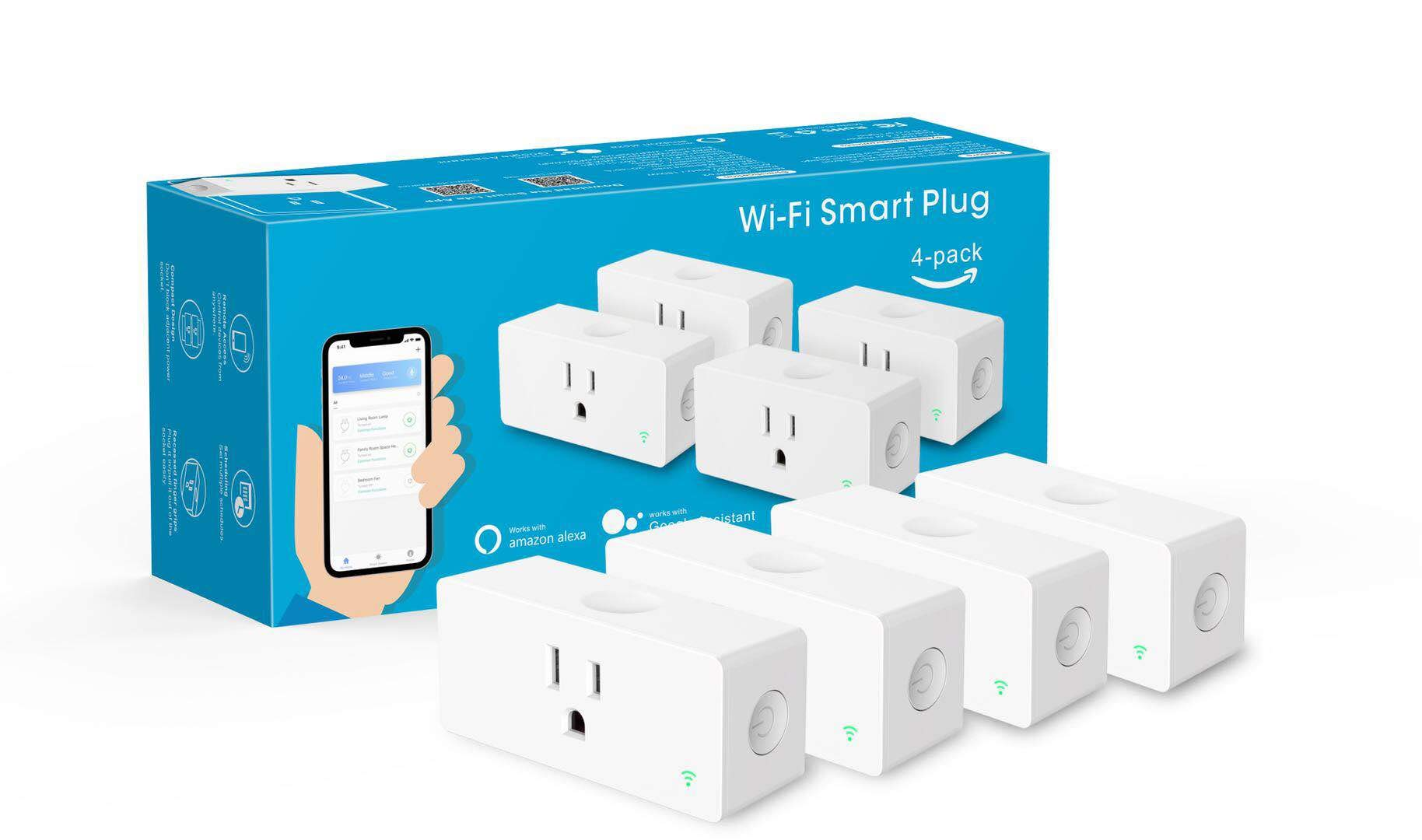 Amysen WiFi Smart Plug, Mini Outlet Compatible with Alexa, Google Assistant, No Hub Required, Control Your Devices from Anywhere(4 Pack)