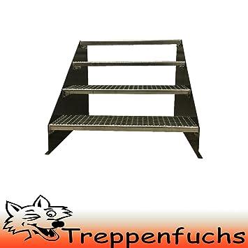 4 Stufen Standtreppe Stahltreppe freistehend Breite 110cm Höhe 84cm Schwarz