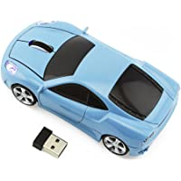 Elec Space Cool Sport Car Shaped Cordless Optical Mouse with USB Receiver (Light Blue)