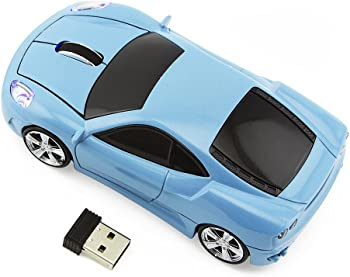 Sport Car Shaped Wireless Optical Mouse with USB Receiver (Light Blue)