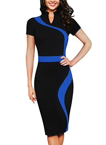 SYLVIEY Womens Vintage Elegant Shirtwaist Work Business Cocktail Pencil Dress