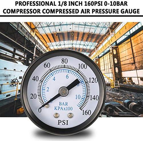Professionelle 1//8 Zoll 160 Psi 0-10 bar Kompressor Druckluft ManometerT