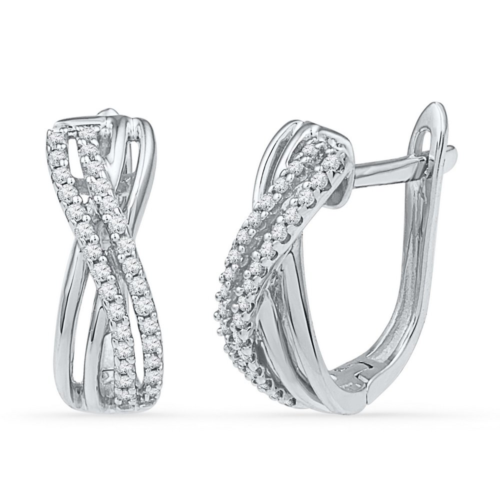 10k White Gold Infinity Diamond Hoop Earrings Fashion Hoops X Love Style Polished Fancy 1/5 Cttw
