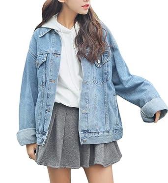 39bacdb574a84 Ankecity Women s Boyfriend Denim Jackets Long Sleeve Loose Jean Coats  Oversize