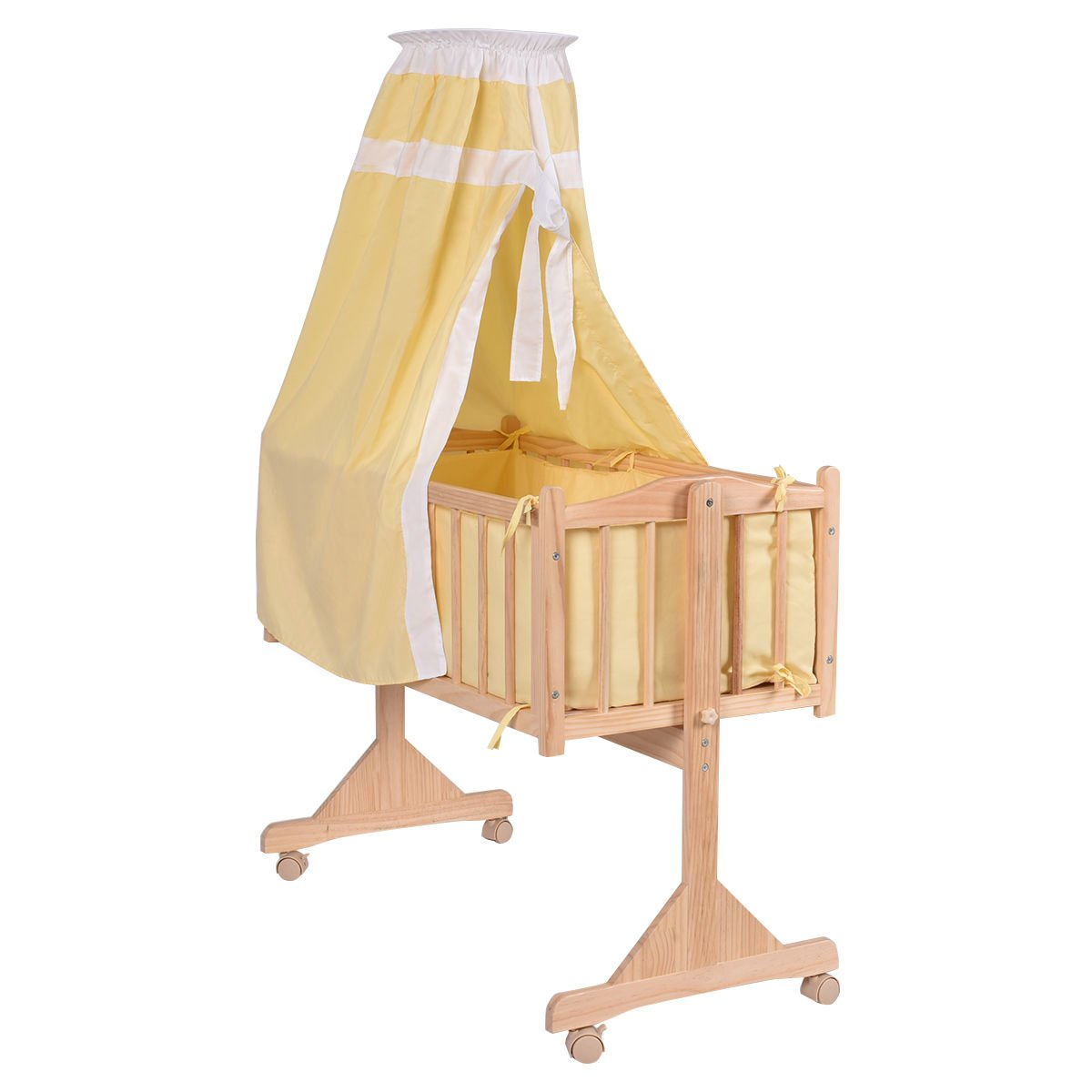 Costzon Wood Baby Cradle Rocking Crib Bassinet Bed Sleeper Portable Nursery (yellow)