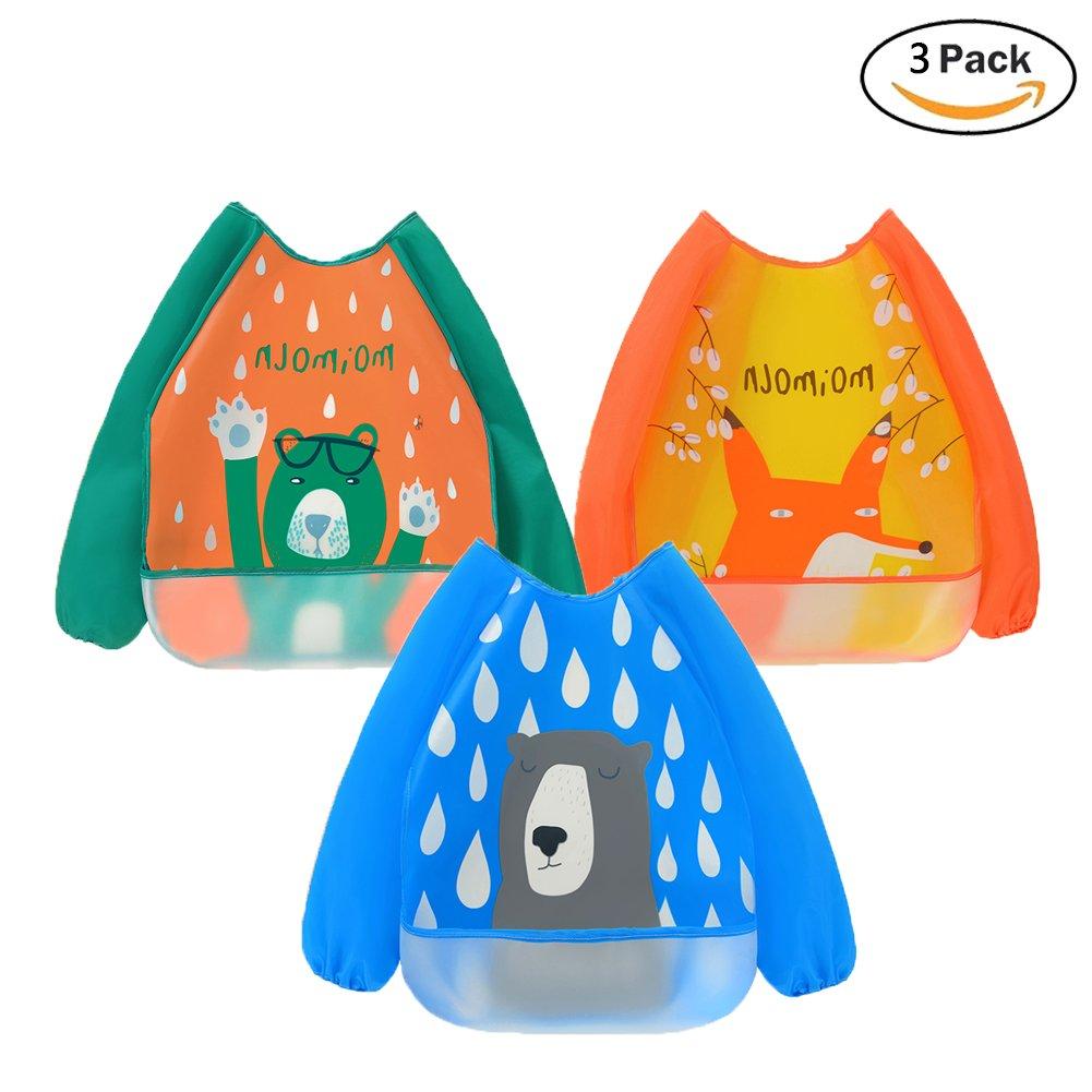 3 pacchi bavaglino a manica lunga Impermeabile Bavaglino per beb/è con il cibo catcher tasca Lavabile Grembiule per neonati per 6-36 mesi Bambini che mangiano Pittura e giocando