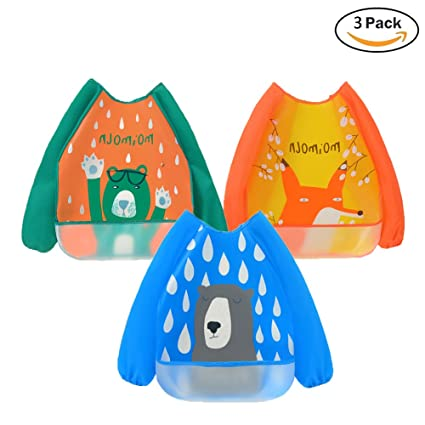 3 Pack Sleeved Bibs Waterproof Babies Feeding Bibs with Long Sleeves Washable Baby Apron for 6-36 Months Kids Eating and Painting