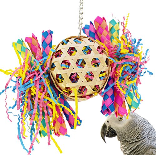 Bonka Bird Toys 1721 Round Basket Cage Toys Cages Foraging Chew Shredder Conure. Quality Product Hand Made in The USA. (Basket Bird)