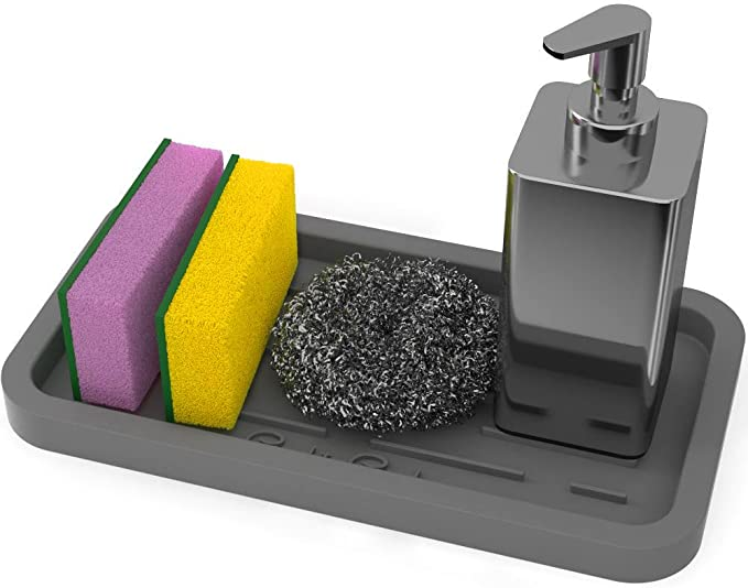 GOOD TO GOOD Silicone Sponges Holder - Kitchen Sink Organizer Tray for Sponge, Soap Dispenser, Scrubber and Other Dishwashing Accessories - Gray best kitchen sink organizer