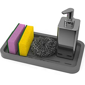 Sponge Holder Tray - Kitchen Sink Organizer - For Sponges, Soap Dispenser, Scrubber, Dishwashing Brush Holder - Multipurpose Use Mat (Grey)