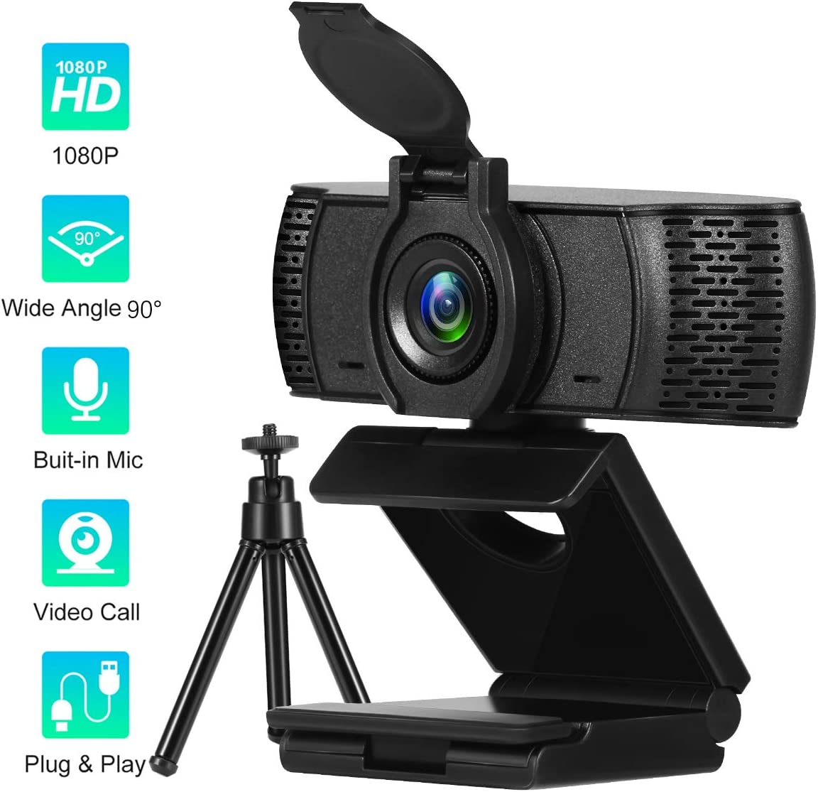 1080P Webcam with Microphone & Privacy Cover 90-Degree Wide Angle Web Camera for PC Mac Laptop Desktop Full HD Video Web Camera Flexible Rotatable Clip and Tripod