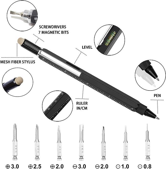 Nuevo Multi Pen Tool Stylus Gift DIY Amazing con destornillador Nivel de burbuja Plata