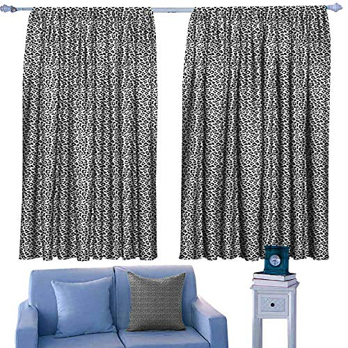 Mannwarehouse Leopard Print Sliding Curtains Black and White Graphic Style Wild Jungle Animal Abstract Skin with Spots Privacy Protection 63
