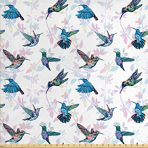 Hummingbirds Fabric by the Yard by Lunarable, Tropical Animal Pattern Wildlife Inspirations Exotic Flying Creatures Print, Decorative Fabric for Upholstery and Home Accents, Multicolor
