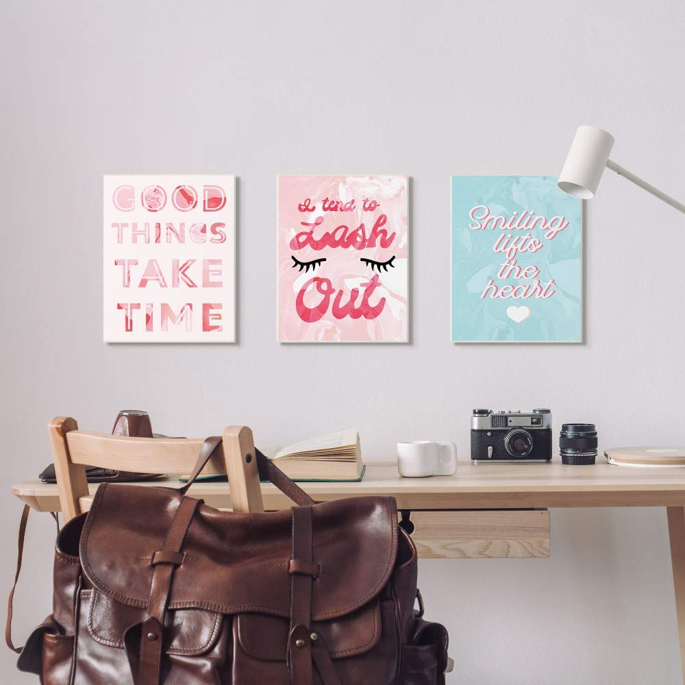 Multi-Color 10x15 The Stupell Home Decor Collection Good Things Take Time Bright Pink Marble Cut Out Typography Wall Plaque Art