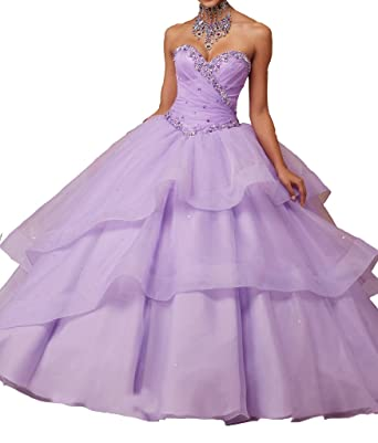 MCandy Womens Sweetheart Vestidos 15 Corset Floor Length Prom Quinceanera Dresses 0 US Lilac
