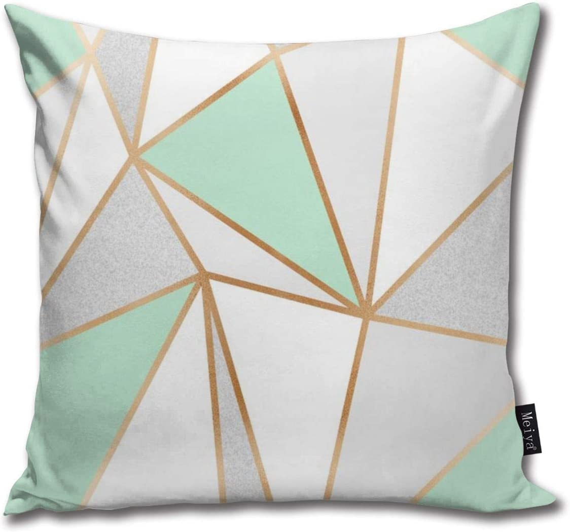 Lalaco-Design Mint Green Grey Gold geo Throw Pillows Covers Accent Home  Sofa Cushion Cover Pillowcase Gift Decorative 11x11inches