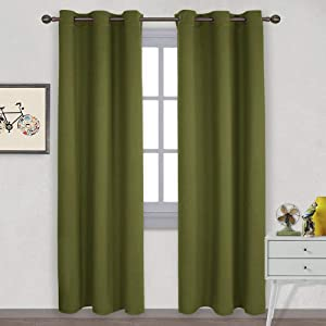 NICETOWN Thermal Insulated Solid Grommet Blackout Curtains/Drape for Living Room (1 Pair,42 by 84 inches,Olive Green)