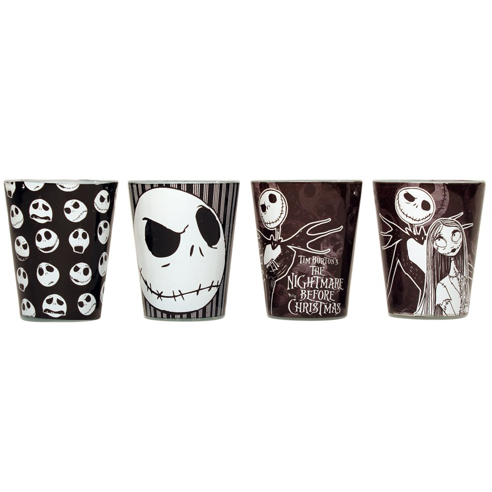 Silver Buffalo NB031SG1 Disney Nightmare Before Christmas Colored Mini Glass Set, 4-Pack