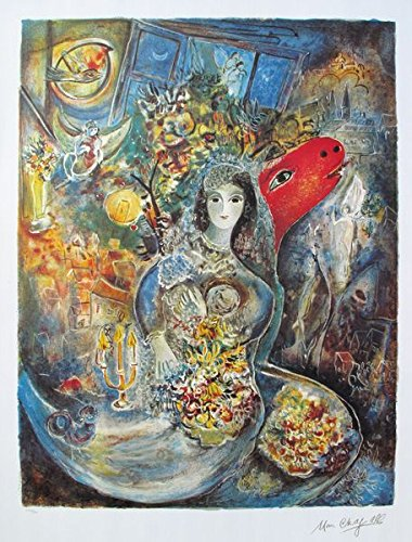 Wall Art by Marc Chagall Bella Limited Edition Facsimile Signed Lithograph Print. After the Original Painting or Drawing. Measures 27.5 Inches X 21 Inches On 34 Inches X 23 Inches Printed On High Q ()