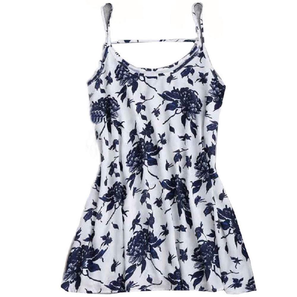 aiNMkm Long Dress with Slit,Women Sexy Dress Camisole Dress Sleeveless Dress,Blue,S