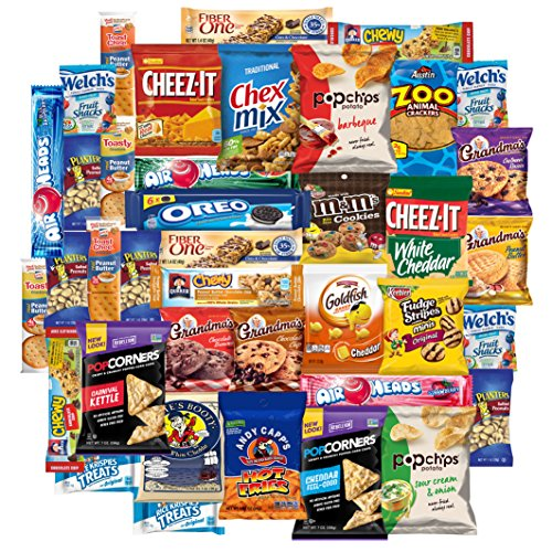 Snacks Care Package Chips Cookies And Candy Variety Mix Assortment (40 Count) ()