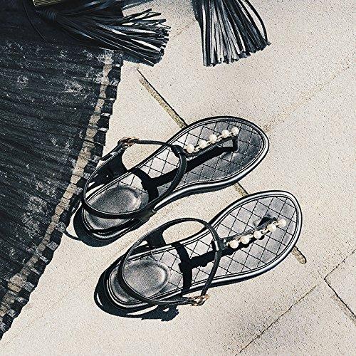 Des Sandales En Cuir, Summer Pearl Pincée Orteils, Faible Au Pied Des Chaussures Pour Femmes,Black,Eu36Cn37