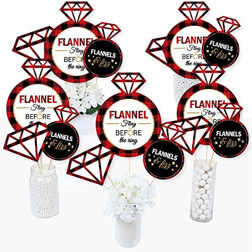 Flannel Fling Before The Ring - Buffalo Plaid Bachelorette Party Centerpiece Sticks - Table Toppers - Set of 15 for $<!--$14.99-->