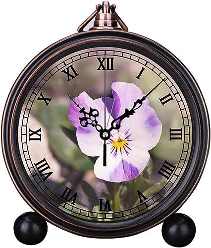 Retro Innovative Student Clock Alarm Clock Table Iron Decoration Desktop Clock Round Purple and White Pansy Flower