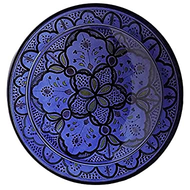 Moroccan Ceramic Plate Handmade Deep Serving Dinnerware 16 Inches Diameter Blue