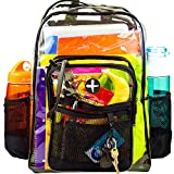 LARGE Clear Plastic Security Backpack, Heavy Duty, Water Resistant, School Safety Backpack