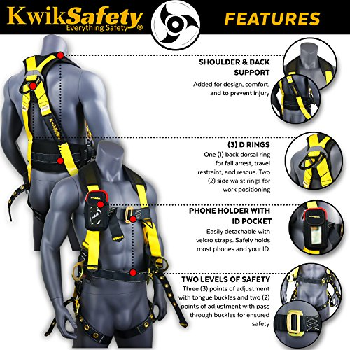 KwikSafety (Charlotte, NC) TYPHOON | ANSI Fall Protection Full Body Safety Harness | Personal Protective Equipment | Dorsal Ring Side D-Rings Grommet Leg Straps Tool Lanyard Bolt Pouch, Construction by KwikSafety (Image #4)