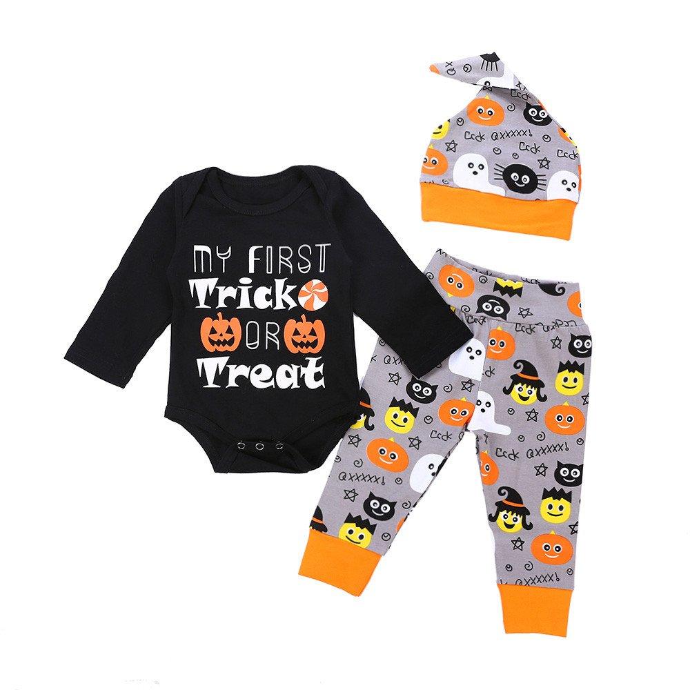 BHYDRY Halloween Infant Baby Girls Boys Letter Print Romper Jumpsuit Pants Outfits Set Cotton Blend Costume