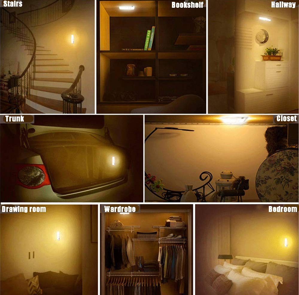 Motion Sensor Light, Wireless Night Light 18 LED USB Rechargeable Indoor Automatic Light Super Long Battery Life for Closet, Cabinet, Stairs, Drawer, Pantry, Cupboard, Wardrobe