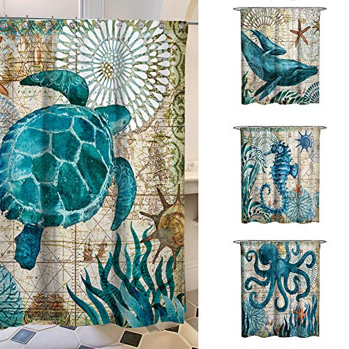 - helegeSONG Non Toxic Vintage Whale Seahorse Octopus Waterproof Shower Curtain Home Bathroom Decor - 180180cm 4