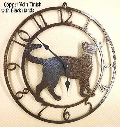 Cat Metal Wall Clock (Cat Wall Clock. Kitten. Copper Vein Color with Black Hands. Handmade in USA. 15 Inch Wide.)